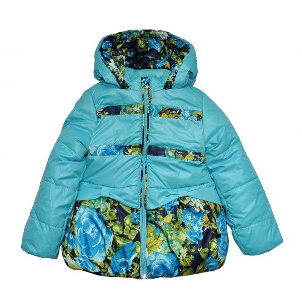 Куртка 20008 бірюзова з принтом