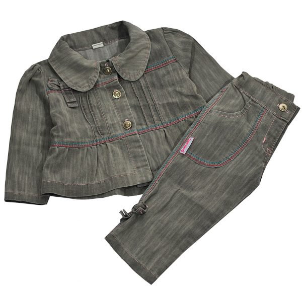 Джинсовый костюм 647 серый