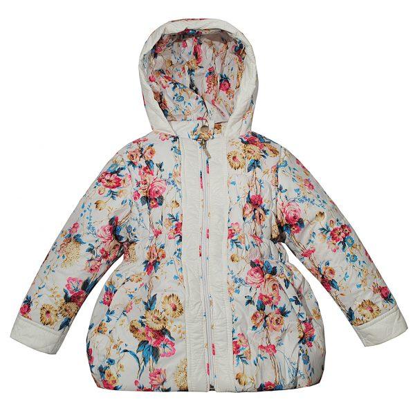 Куртка 2636 біла кольоровий принт