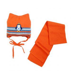 Шапка Шарф зимняя AGBO 80326А оранжевая
