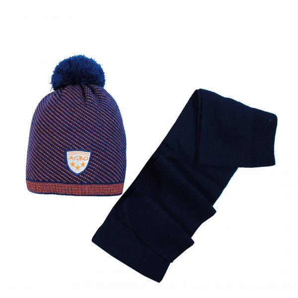 Шапка шарф зимова темно-синя