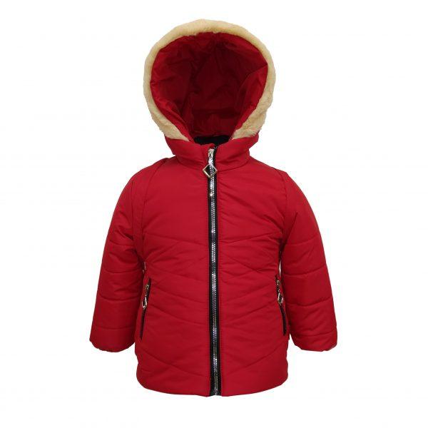 Куртка зимняя для девочки с рюкзаком  20324 красная