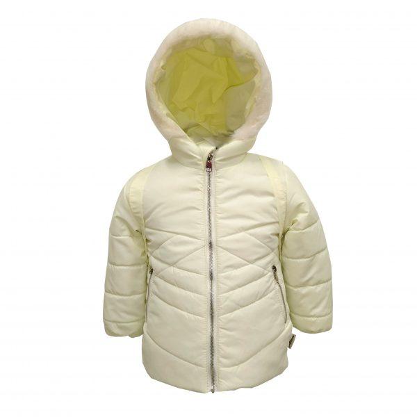 Куртка зимняя для девочки с рюкзаком  20324 молочная