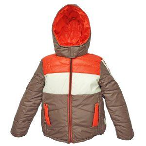 Куртка 2683 коричнева з біло-червоним принтом