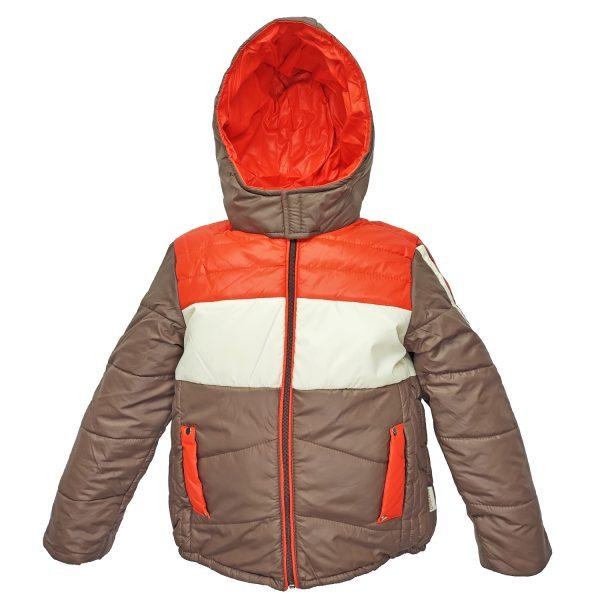 Куртка 2683 коричневая с бело-красным принтом