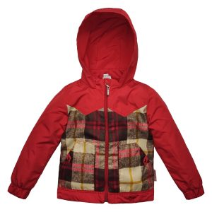 Куртка 2652 красная цветной принт