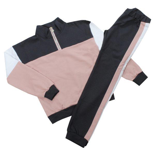 Костюм 555177-555178 серо-розовый