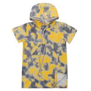 Платье 555195 желто-серая